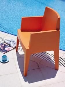 Glox stoel tuin terras serre kunststof oranje
