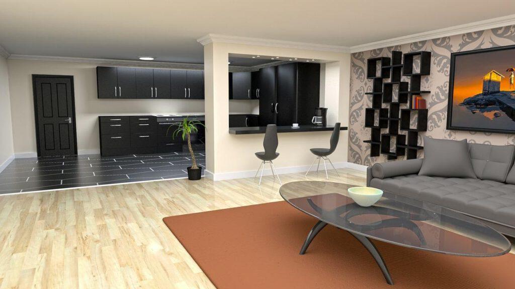 Futuristische en simplistische woonkamer
